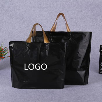 Promotion Gift Clear Black Plastic Tote Bags With Company Logo Design Handles