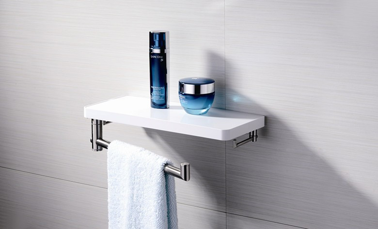 Ff16051003 Modern Design Bath Abs Wall Mounting Shelf With Removable Towel Bar Bathroom Accessories Shelves For