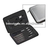 OEM manufactory high quality DIY 25 pcs computer tool set,household hand tools with the ALUMINUM BOX popular EUROPEAN