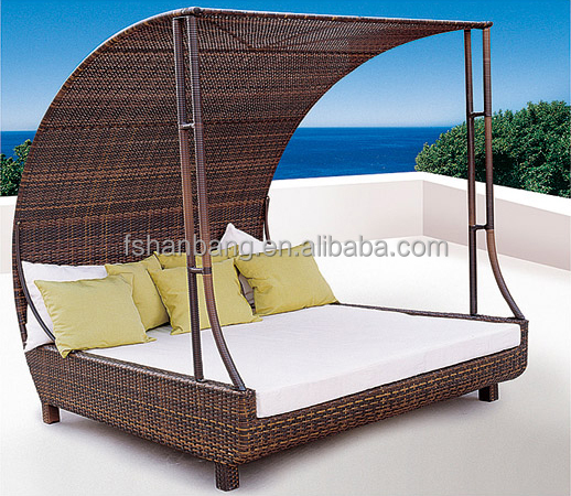 Outdoor Furniture Beds: Wicker Double Chaise Lounge Awning Outdoor Patio Furniture