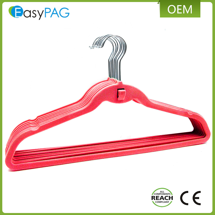 High quality hanger pink Velvet hanger clothes hanger parts
