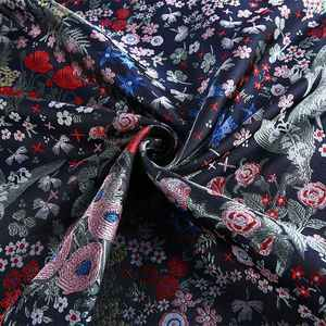 High quality textured multicolor floral polyester jacquard liberty dubai dress fabric for casual dress