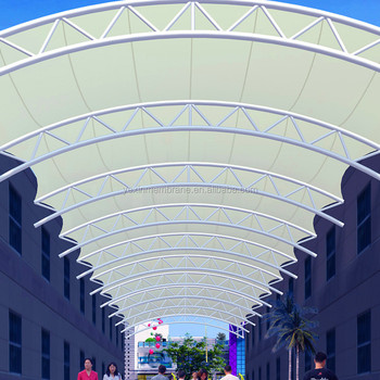 Low cost PTFE membrane structure shade for corridor PTFE tensile canopy with steel frame & Low Cost Ptfe Membrane Structure Shade For Corridor Ptfe Tensile ...