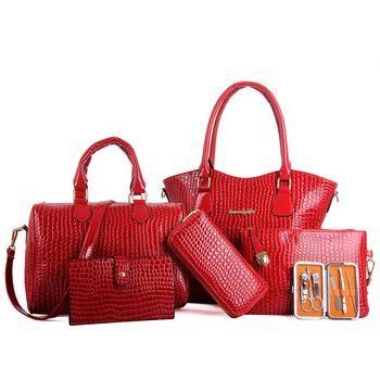 2018 Wholesale Custom Fashion Women Crocodile Leather Cross Body Bag Ladies  Tote Hand Bag 6 Piece Set Handbag - Buy Wholesale Custom Crocodile Leather  ... 8a93af72b2208
