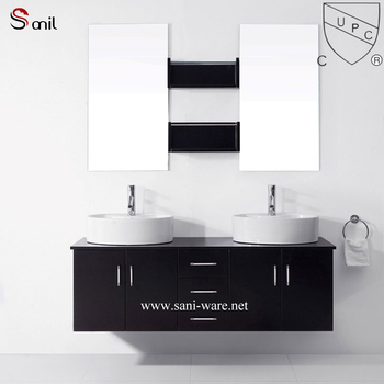 Cupc Approved Ceramic Table Top Wash Basin With Antique Cabinet
