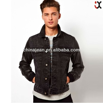 Black leather sleeve denim jacket