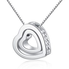 Free shipping Mexican Style Silver Double Heart 펜 던 트 Necklace N01