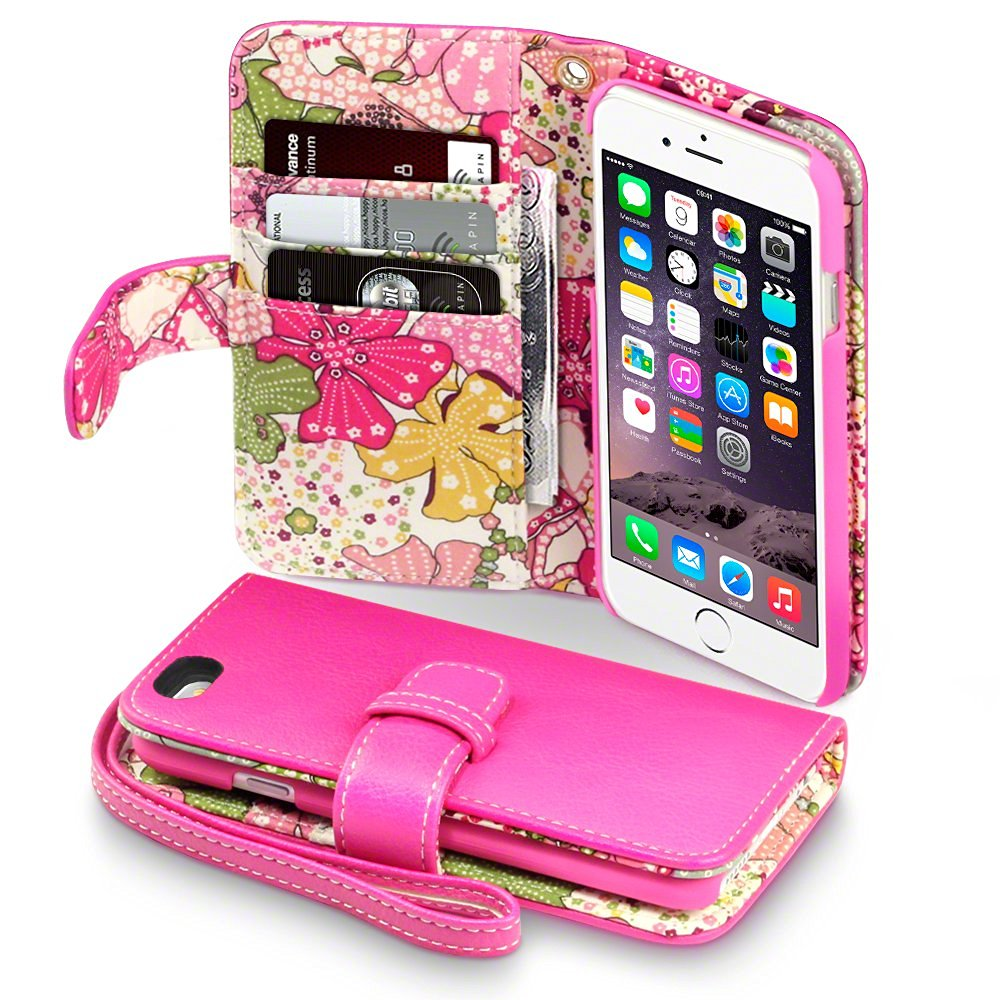 iPhone 6S Case, Terrapin [Floral Interior] Premium PU Leather Wallet Case with Card Slots, Cash Compartment and Detachable Wrist Strap for iPhone 6 / 6S (Hot Pink with Lily Floral Textile Interior)