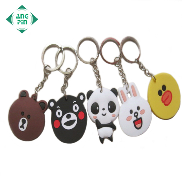 Personalized rubber logo promotional wholesale keyring custom animal 3d plastic soft pvc keychain