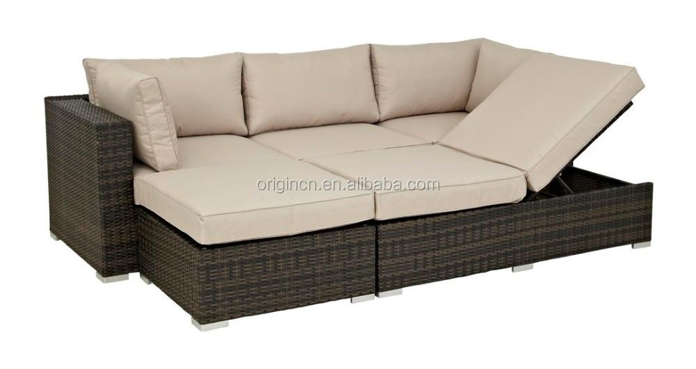 Cabana Wohn Freien Sun Lounge Bed Und 3 Sitzer Ecksofa Rattan Jardin ...