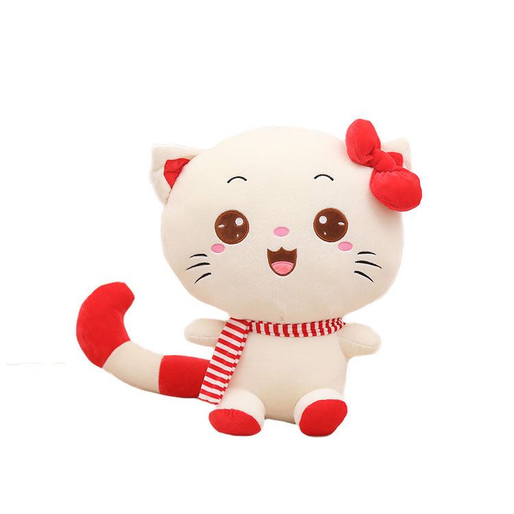 2019 hot sell lovely cat with scarf plush toy children playing toy soft <strong>doll</strong> for girl