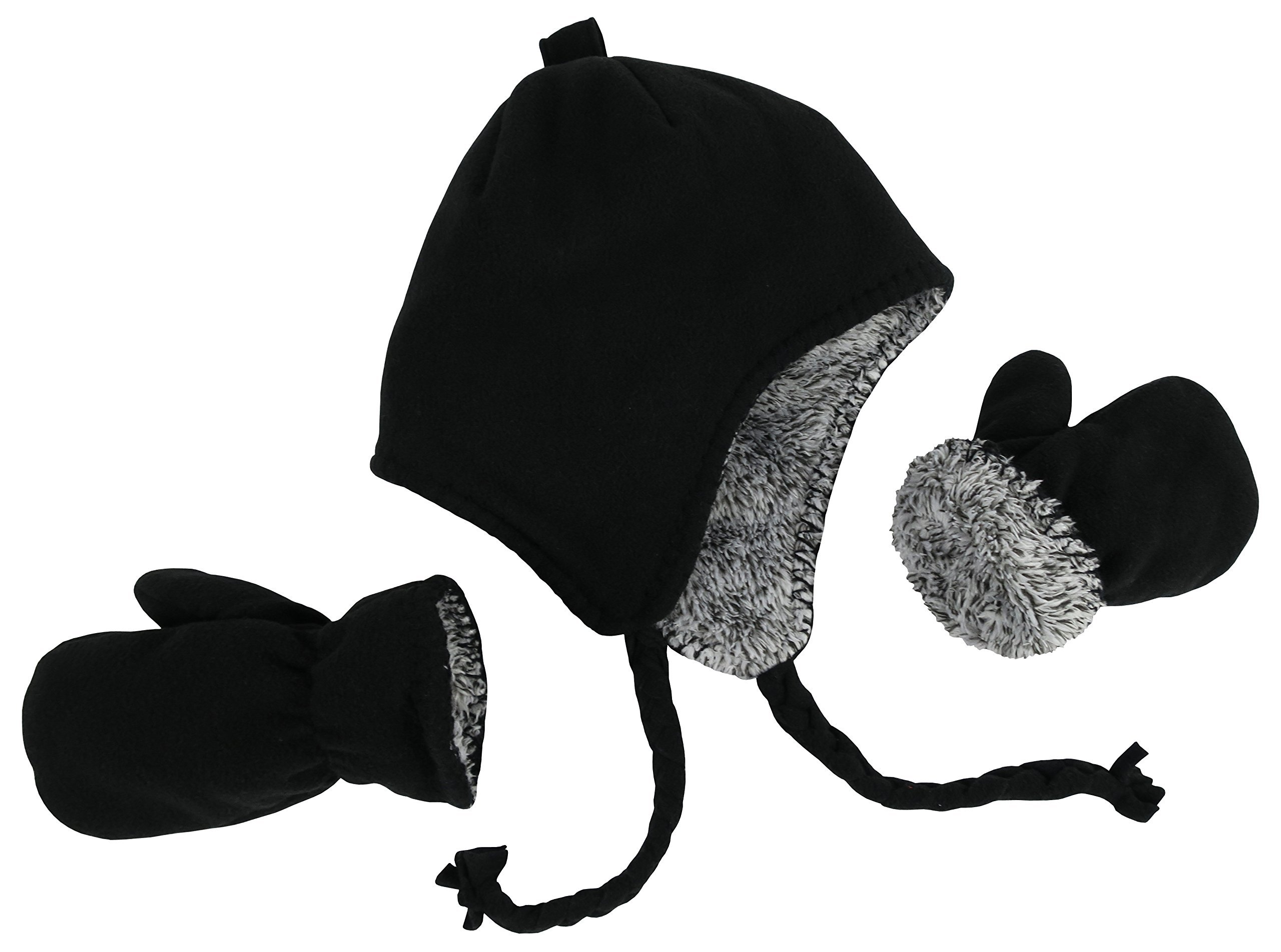 101fd76fa39 Get Quotations · N Ice Caps Little Kids and Baby Reversible Hat and Mittens  Fleece Skater Set