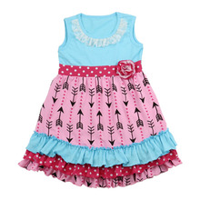 Children Frock Model Small Girl Clothing Baby Clothes Arrows Printed Baby Girls Ruffle Dress