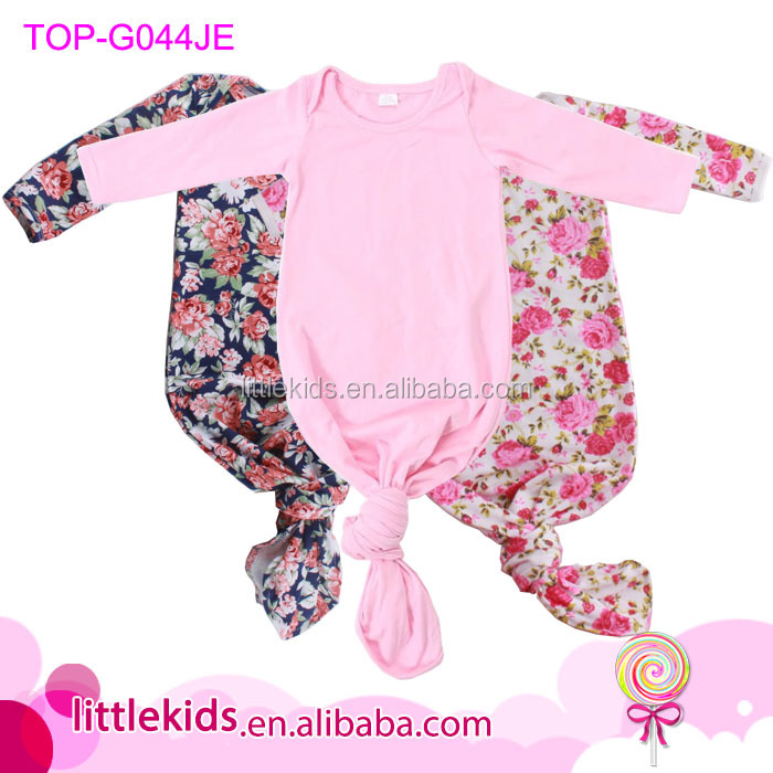 3cd6b7622fa Lap Shoulder Long Sleeve Cotton Baby Onesie Gowns Unisex Knotted Newborn  Baby Gown