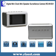 RE-MVS01 Mini Speaker and Table Clock Hidden Camera for Home Office Security with Multifunction and Night Vision