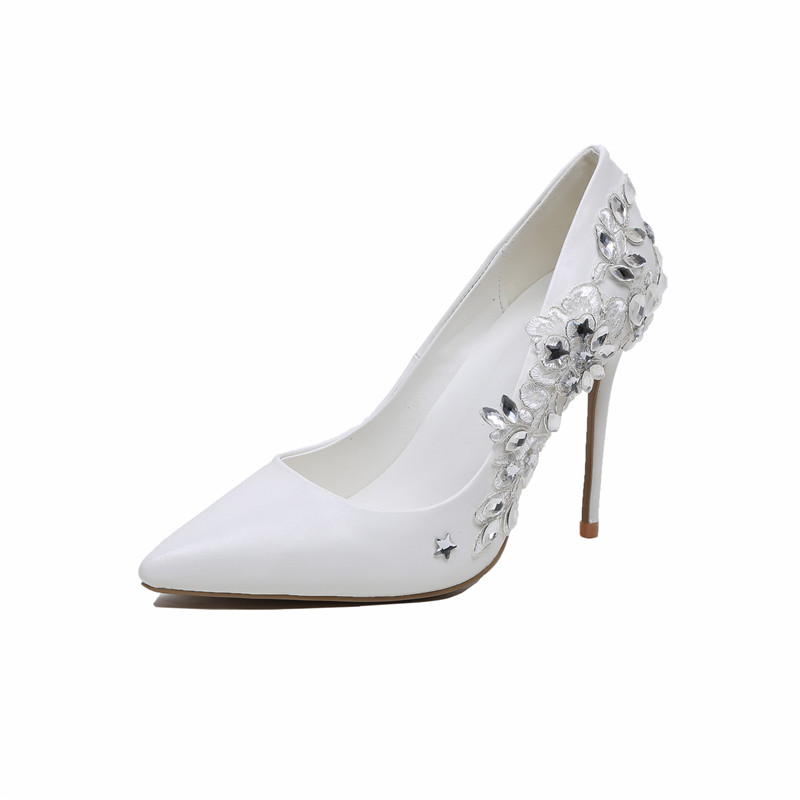 Jeweled Diamond Crystal wedding shoes Women Dress Pumps Ladies women wedding shoes Sexy White bridal Wedding Shoes for bride