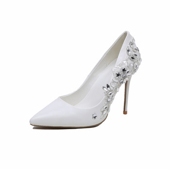 32be4219010 Jeweled Diamond Crystal wedding shoes Women Dress Pumps Ladies Sexy White  bridal Shoes