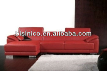 Bisini Red Genuine Leather Corner Sofa Living Room L Shape