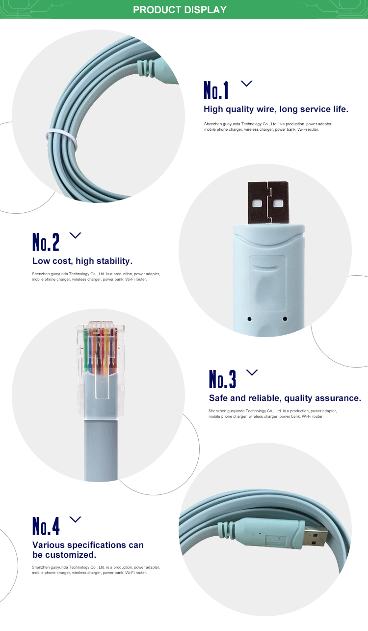 Customized High Quality 6ft 18m Ftdi Usb Rs232 To Rj45 Serial Wiring Diagram Console Cable With Ft232rl Chipset