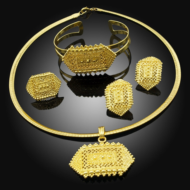 Ethiopian Girls Picture African Traditional Jewelry 24K Real Gold Jewelry Cheap 4 Pieces Design