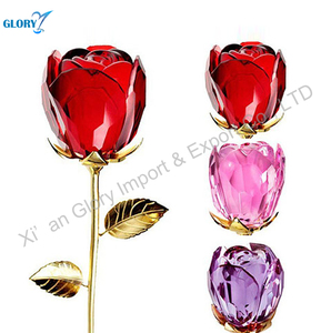 Wholesale elegant romantic red rose crystal glass flowers for lover