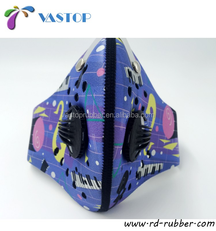 OEM Filter Anti Pollution Neoprene Face Mask Customize Printing for Cycling