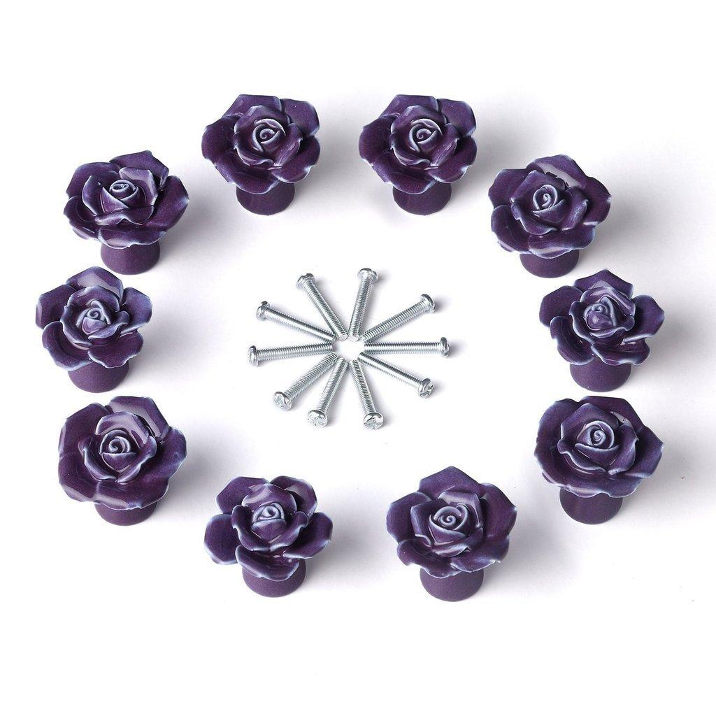 Oderola 12PCS Ceramic Vintage Floral Rose Flower Door Knobs Drawer Handles Pulls for Kitchen Cupboard Cabinet Closet Furniture w/ Screws Purple