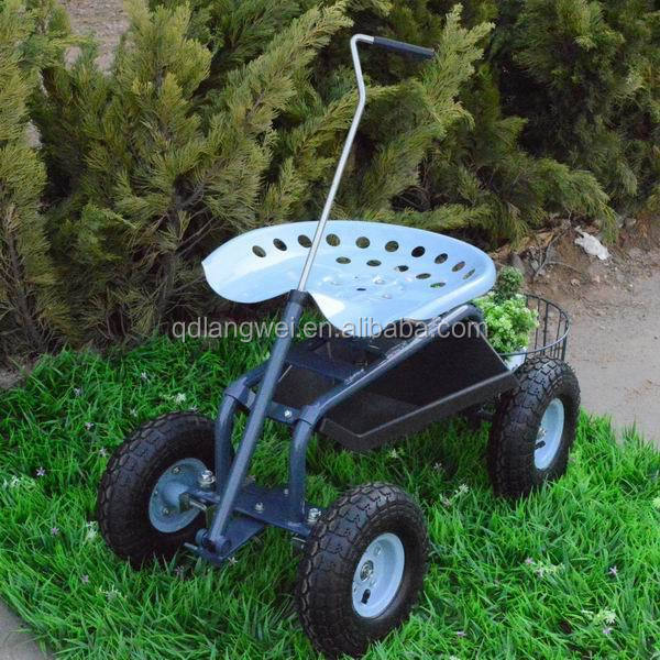 Rolling Garden Cart Work Seat With Pull Handle Buy Rolling Seat