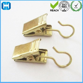 Gold Color Drapery Window Shower Curtain Rod Metal Hook Clips Clamps