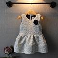 2016 new fashion spring autumn 100 cotton princess dresses long sleeved brooch dress T shirt dress