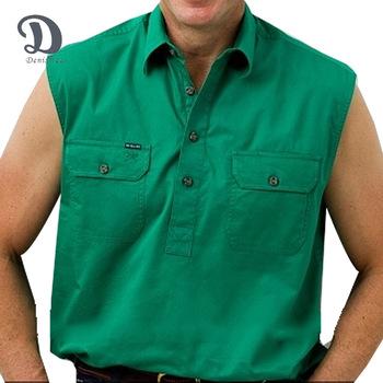 9b6da605b209d2 Men s Half Button Sleeveless 100s Cotton Work Shirt - Buy Men s Shirt ...