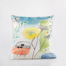 Idyllic Fashion Luxury Satin Fabric Printed Pillow Cover Botanic Cushion Cover High Quality Pillowcase Sofa Bedding Cushions