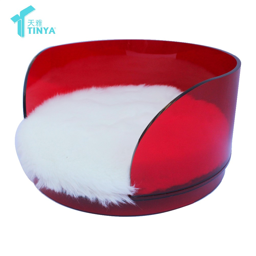 High Quality Acrylic Round Red Bed for dog and Cat Pet Accessory Comfortable Cushion
