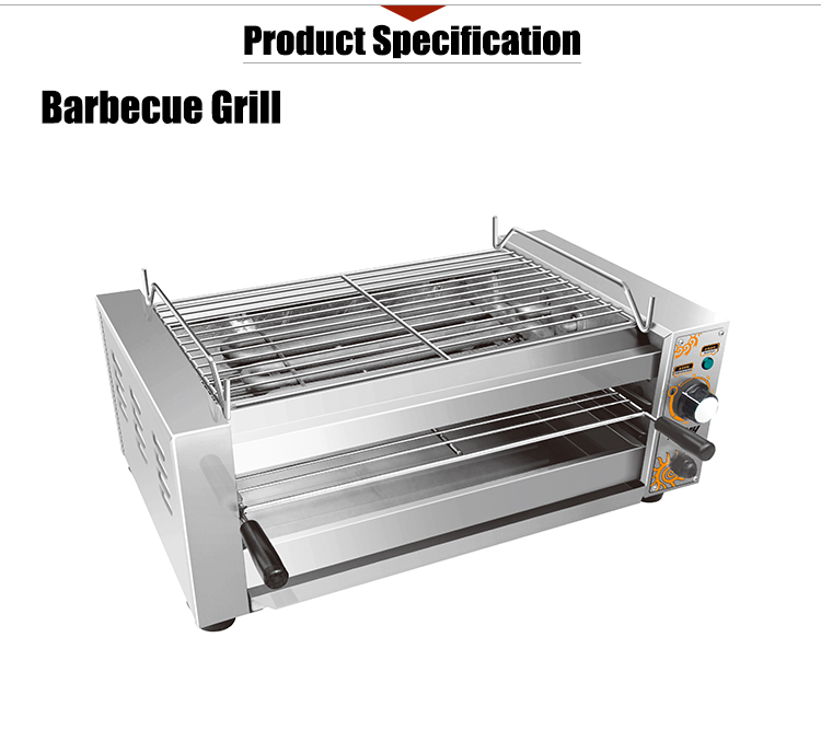 Hot Sale K1353 Smokeless Indoor Stainless Steel Electric Bbq Grill with Salamander
