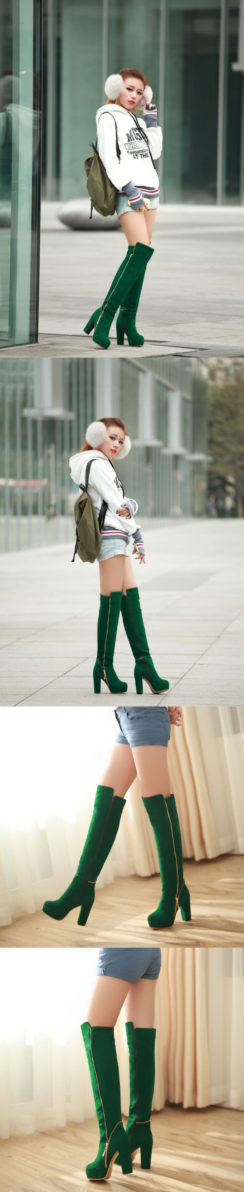 Sales Hot Elegant Black Army Green Women Over Knee Thigh High Snow Boots Ladies Shoes AI116 High Heels Plus Big size 10 43