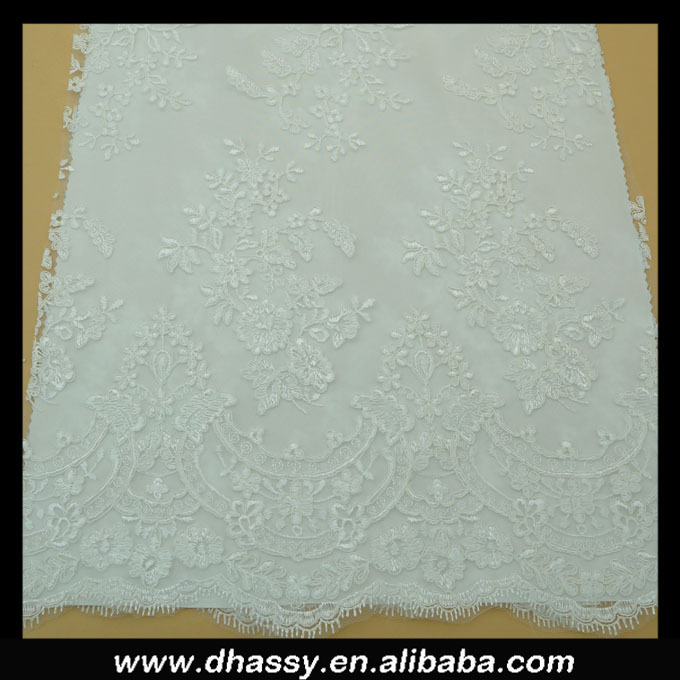 Hot sales white wedding lace embroidered bridal fabric