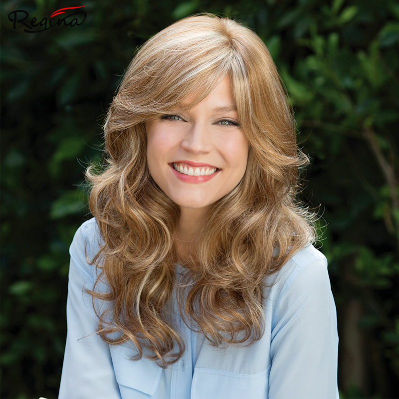 Medium Length Wig Synthetic Wigs Blonde Wigs Wavy Curly