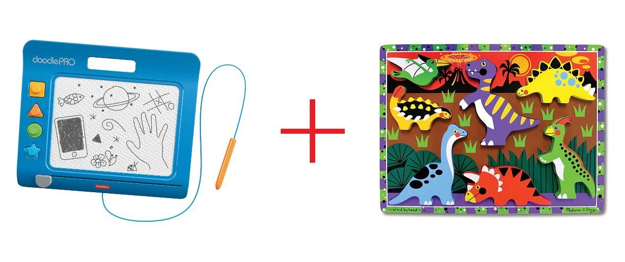 Fisher-Price DoodlePro Slim - Blue and Melissa & Doug Dinosaurs Wooden Chunky Puzzles - Bundle