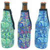 Promotional insulated Custom Printed zipper neoprene beer bottle cooler / cover / holder / sleeve