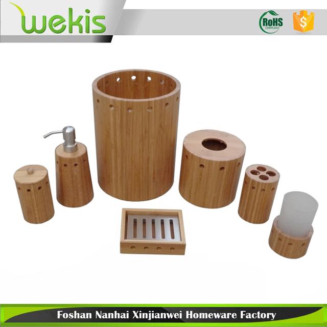 7 Pc Bamboo Spa Bath Accessories Set Bathroom Toothbrush Tissue Soap  Dispenser Hotel Amenities