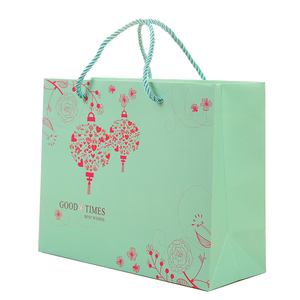 Custom Made Chinese Style Retro Green Festive Fancy Printed Logo Paper Gift Bags No Minimum