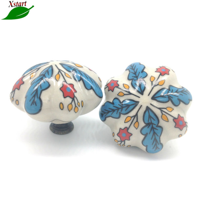 3pcs Ceramic Kids Cabinet S Cupboard Handles Furniture Drawer Handle Kitchen Pulls Hand Painted Country Leaf In Price On