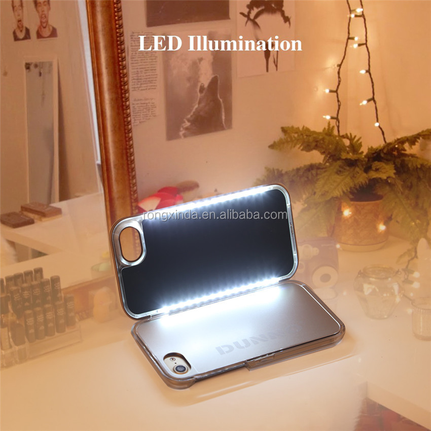 Hot sale LED mirror selfie Light phone case for make up and for iphone