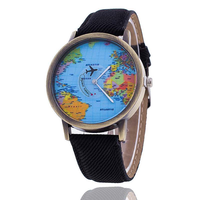 popular world map watch travelling airplane watch demin strap women wrist watch cheap stock wholesale buy world map watchairplane watchwomen wrist watch