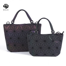2018 Geometrica Olografica Luminesk Bao Sacchetto Flash Riflettente Cartelle Borse con Chiusura a Cerniera Borse <span class=keywords><strong>Medio</strong></span> Boston Bag