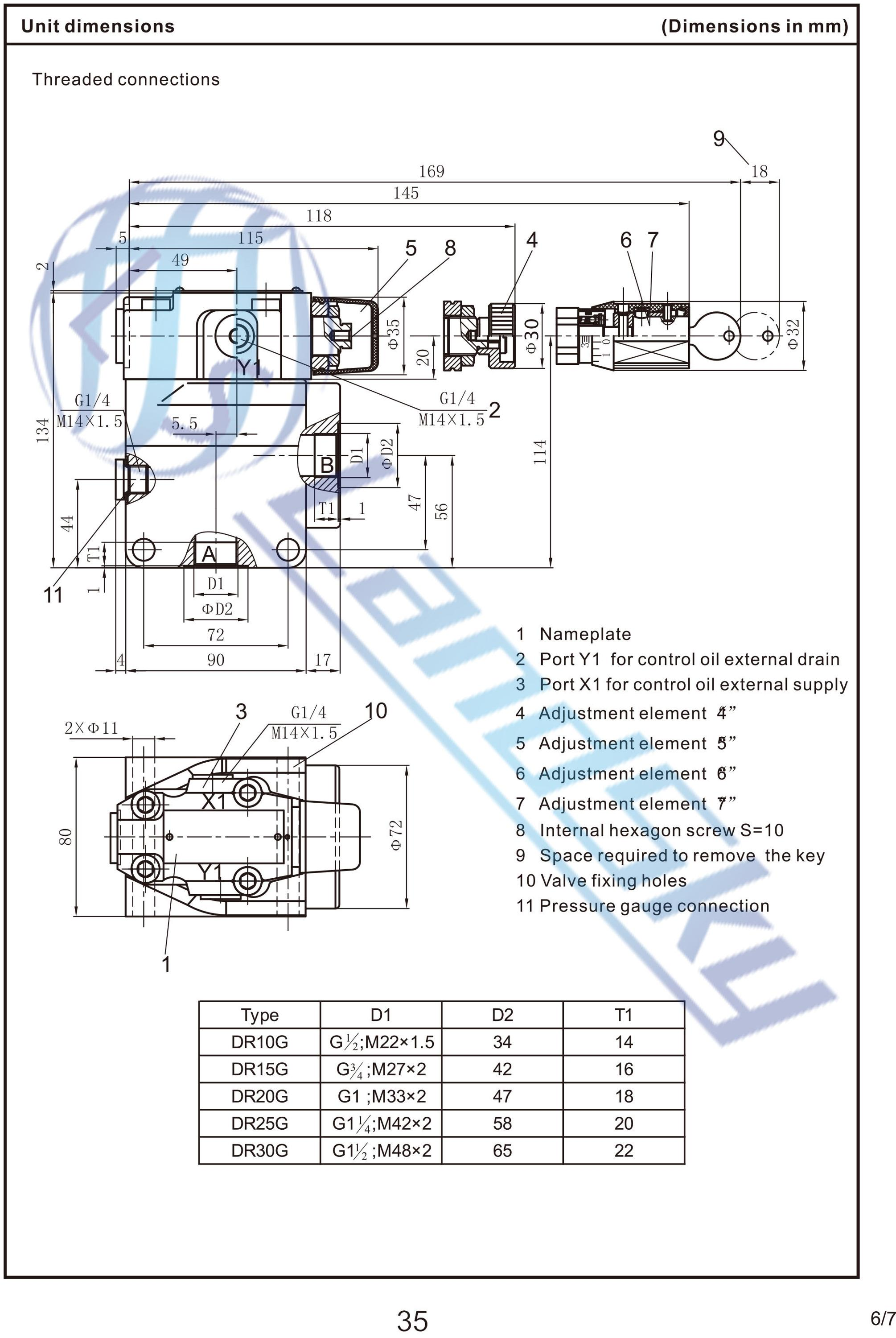 Landsky hydraulic pilot operated pressure reducing check valve landsky hydraulic pilot operated pressure reducing check valve symbol dr10g4 5x315ym dn10 315bar biocorpaavc Image collections