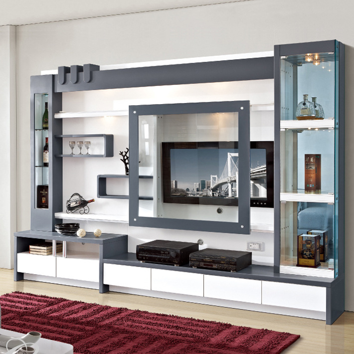 Living room furniture wood lcd tv wall unit design buy for Simple lcd wall unit designs
