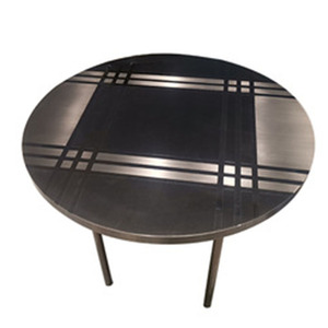 Chinese cheap modern living room furniture stainless steel base round small mirrored metal coffee side tea table