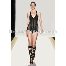 Famous well-known brand sexy black halter swimming dress shop 2012