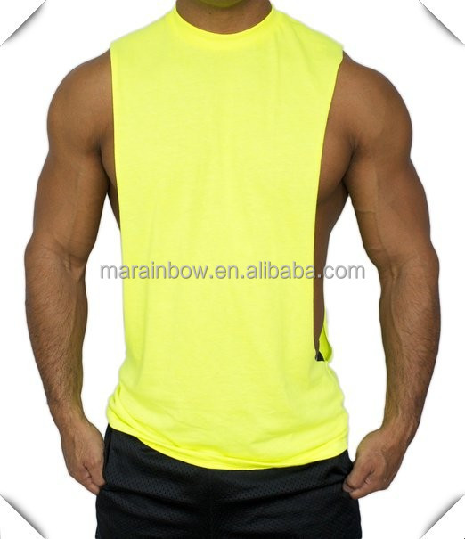 blank Poly-Cotton Muscle deep Cut off Stringer Workout T-shirt wide opening Tank tops custom for gym fitness Bodybuilder